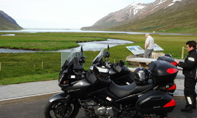 Quick motorcycle stop between two tunnels in Iceland